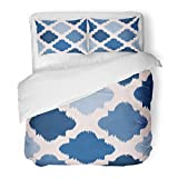 SanChic Duvet Cover Set Colorful Abstract Blue Ikat on Traditional Ethnic Pattern the in Indonesia Asian Countries Pink Chevron Decorative Bedding Set with 2 Pillow Shams Full/Queen Size