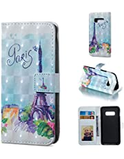 Glitter Wallet Case for Samsung Galaxy S10e and Screen Protector,QFFUN Bling 3D Pattern Design [Tower] Magnetic Stand Leather Phone Case with Card Holder Drop Protection Etui Bumper Flip Cover