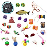 Cat Toys Variety Pack -28 Pieces for Kitty, Including 3 Way Tunnel with Ball, Teaser Wand, Interactive Feather Toy, Fluffy Mouse, Crinkle Balls and etc, Great for Puppy, Kitten, Rabbit
