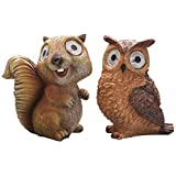 YINYUEDAO Animals for Garden,Balcony,Patio,Set of Two Including Owl and Squirrel, Outdoor Solar Decorative led degisn for aut