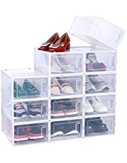 Shoe Organizer, Ohuhu 12 Pack Shoe Box Storage Containers, High Quanlity Stackable Foldable Shoe Rack, Drawer Type Front Opening, Clear Plastic for Closets and Entryway Fit up to US Size 9.5