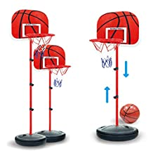 Backboard Basketball Stand,PeleusTech 63-150cm Children Outdoor Indoor Sports Portable Plastic Backboard Basketball Stand 4-Section Height Adjustable Basketball Hoop Toy Set with Inflator,Installation Wrench and Backboard Net