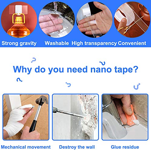 Nano Double Sided Tape - 33 Ft Multipurpose Wall Hanging Strips, Removable Clear Adhesive Tape Strips for Photos, Home Decor, Office Décor