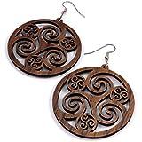 "Celtic Hoop Earrings made of Sustainable Walnut Wood - Large (2"") - Hook Dangle Drop Wooden Earrings"