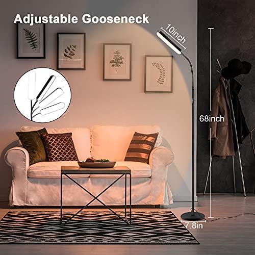 TOTOFAC LED Stehleuchte, 12W Stehlampen mit 4 Farbtemperatur und stufenlosem Dimmer, Fern- und Touch-Stehlampe mit verstellbarem Schwanenhals für das Wohnzimmer