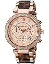MK5538 Michael Womens Parker Brown Crystal-Accented Watch