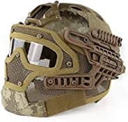 PJ Fast Tactical Helmet Airsoft Paintball Protective Helmet Full Face Mask Goggles Outdoor Sports Hunting CS G