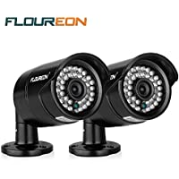 Floureon 2 Packs 1200TVL CCTV Security DVR Camera 1/3 6mm Lens CMOS IR-CUT Day/Night Version Waterproof Night Vision For Home Surveillance System DVR