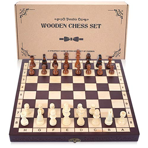 Peradix Wooden Chess Set for Kids and Adults, Travel Portable Folding Chess Board Game, Beginner Chess Set Educational Learning Toys Gifts, with 2 Extra Queens