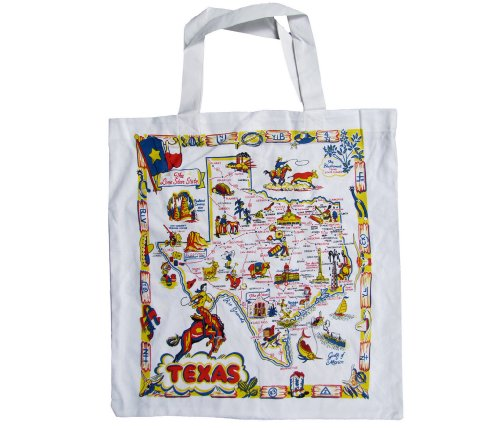 Texas Map Market Tote Bag Grocery Shopper Reusable Eco-Friendly White Cotton Canvas Vintage-America-Inspired Print