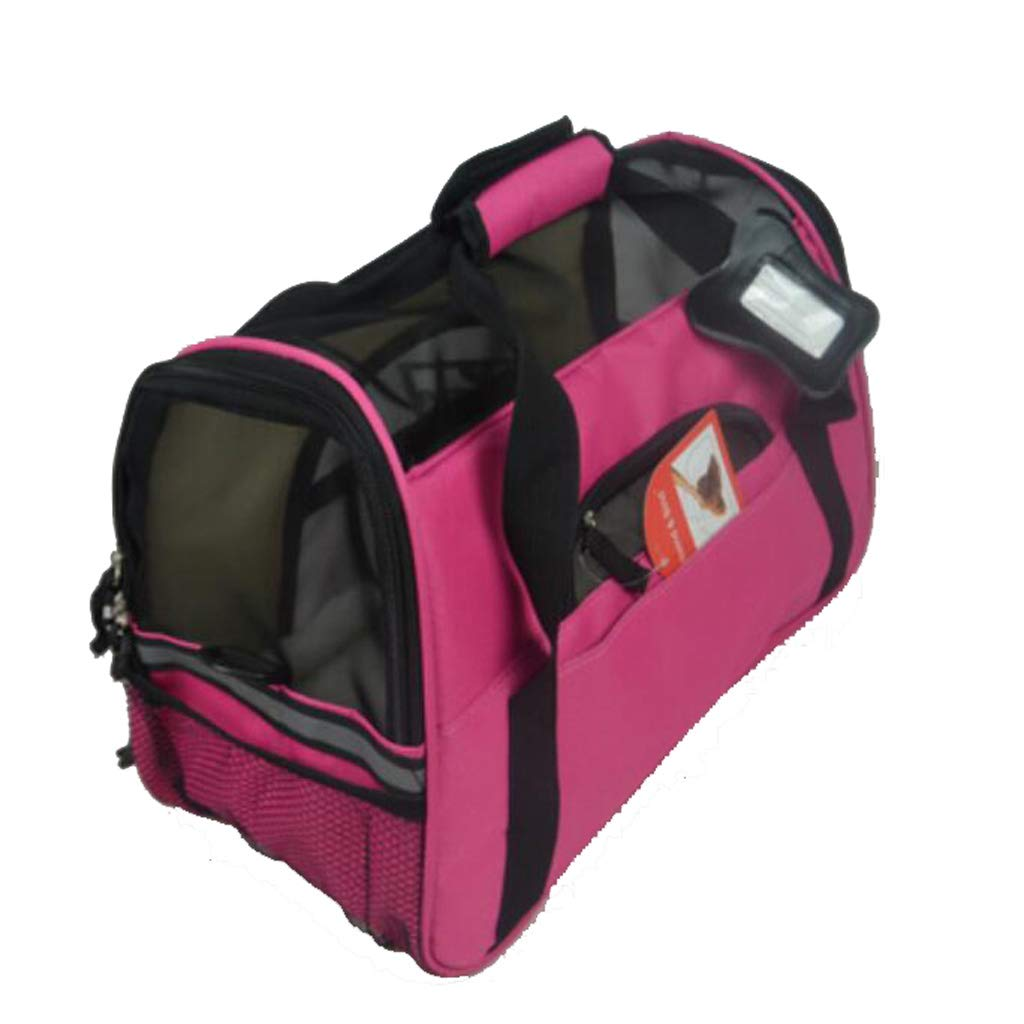 371925CM ZALIANG Pet travel bag The Dog's Bed Travel Carrier Dog Cat Puppy Portable Folding Bag With Lamb Velvet Pad pink Red (Size   37  19  25CM)
