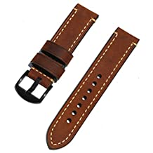 Watch Band With Leather Men's Replacement Strap Brushed Steel Buckle Strap for a Variety of Traditional Watches Sports Watch Replacement Parts 22mm Brown