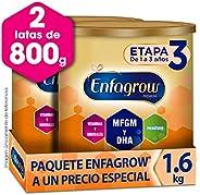 Leche de Crecimiento para Niños mayores de 12 Meses, Enfagrow Premium Etapa 3, En Polvo Paquete especial con 2 latas de 800