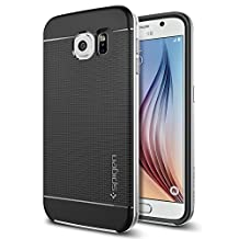 Spigen Neo Hybrid Galaxy S6 Case with Flexible Inner TPU and Reinforced Hard Bumper Frame for Samsung Galaxy S6 2015 - Satin Silver