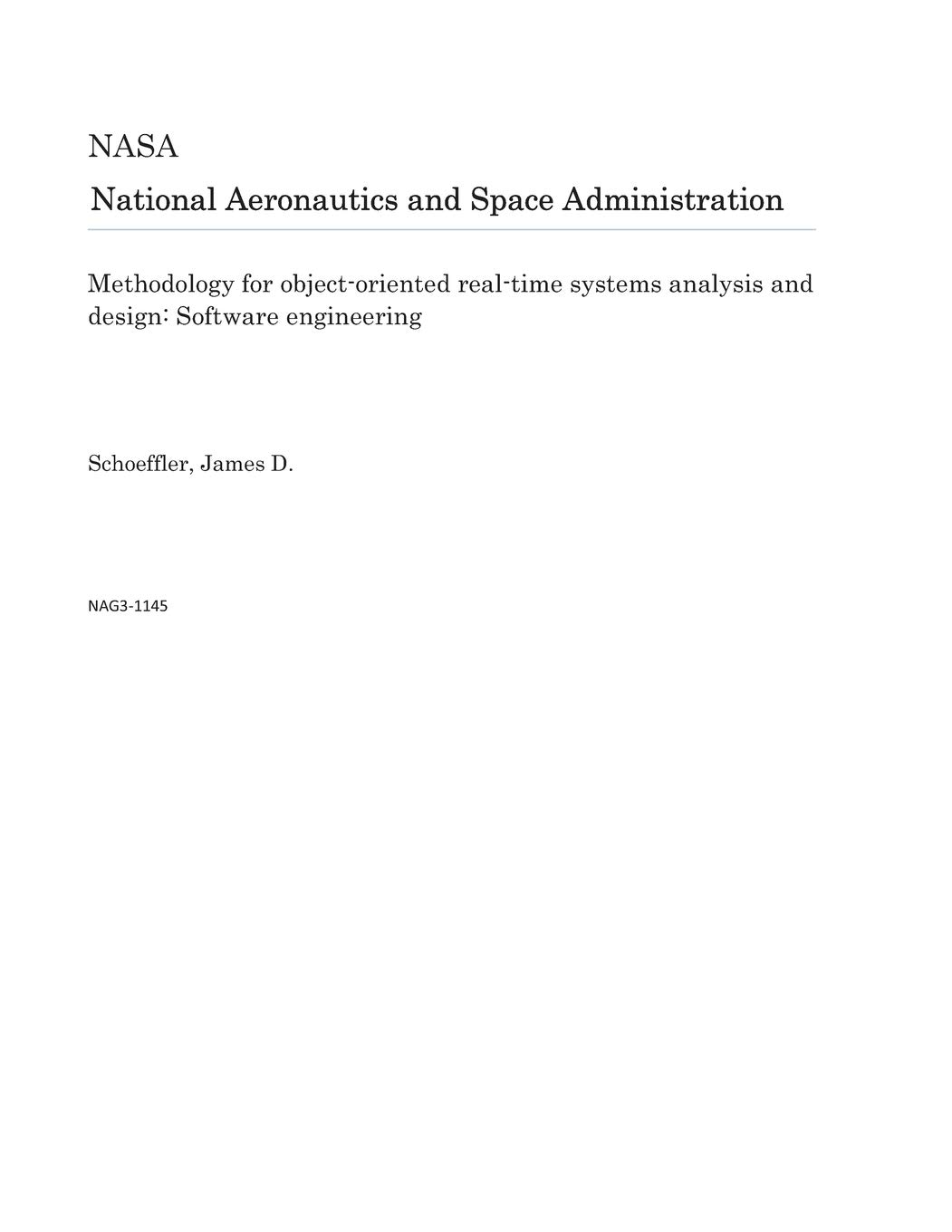 Methodology For Object Oriented Real Time Systems Analysis And Design Software Engineering Nasa National Aeronautics And Space Administration 9781729014820 Amazon Com Books