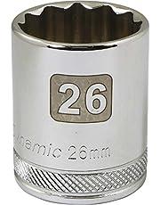 Dynamic Tools 1/2-Inch Drive 12 Point Metric, 26-Millimeter Standard Length, Chrome Finish Socket