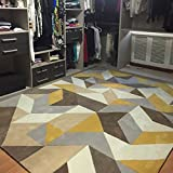 "Non-slip Contemporary Rugs for Living Room Dinning Mordern Area Rugs Carpets,47""x62.9"" Inch (Yellow &Grey-polygon)"