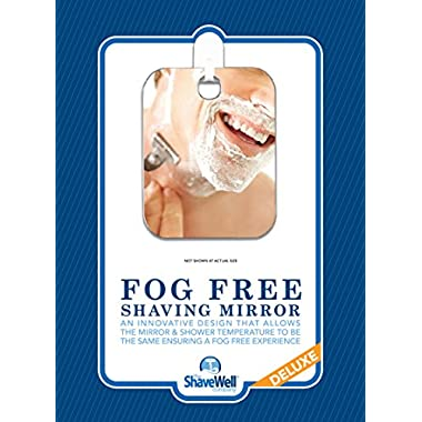 Deluxe Shave Well Fog-free Shower Mirror - Made in the USA - 33% larger than the Original Shave Well Fogless Shower Mirror