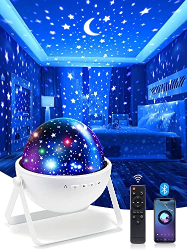 One Fire Night Lights for Kids Room, Bluetooth Music Star Projector Night Light for Kids, Remote Timer Night Light Projector, Moon Starry 360 Rotating Lamp Baby Projector, for Girls