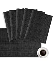 Placemats, Placemats for Dining Table Set of 6, Place Mats Washable Placemat Crossweave Woven Vinyl Table Mats, Stain Resistant Anti-Skid Heat-Resistant PVC Placemats