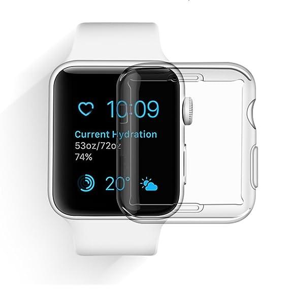 Custodia Apple Watch 3 (38mm), Feskin Cover Morbide TPU iPhone Watch con Caratteristica dei Pellicola Protettiva per iWatch serie 3 2017