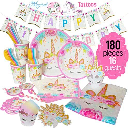 ecoZen Lifestyle Ultimate Unicorn Party Supplies and Plates for Birthday Party | Best Value 180 Decorations Set That Give to Make a Long Lasting Magical Memorable Party