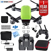 DJI SPARK Fly More Drone Comboe (Meadow Green) Essentials Bundle With Three Batteries, 16GB Flash Drive, Custom Hard Case, Cleaning Cloth And One Year Warranty Extension