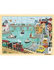 TOP BRIGHT 100 stuks houten legpuzzels voor kinderen 3 4 5 jaar oud, stedelijk houten legpuzzels voor kinderen van 3 4 5 met opbergtas