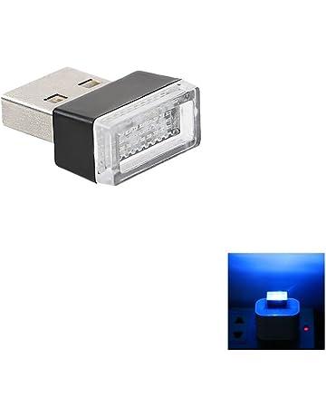 Luces LED decorativas de ambiente para interior de coche con puerto USB (Blue)