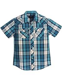 Boys Casual Western Plaid Pearl Snap Short Sleeve Shirt