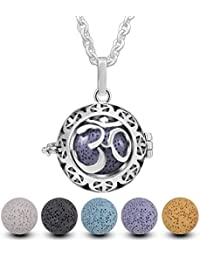 """Lava Stone Aromatherapy Essential Oil Diffuser Locket Necklace 24"""" Chain,5PCS Rock Beads"""