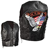 Diamond Plate Grain Leather Biker VEST-4X