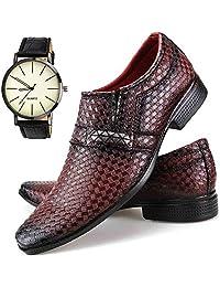 Sapato Social Neway Masculino Vinho com Relógio