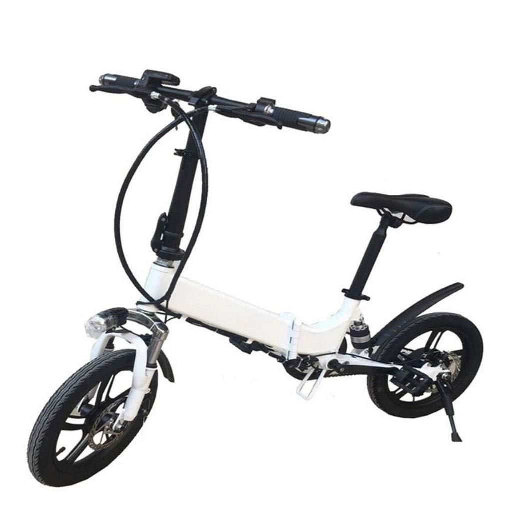 シングルカー電動自転車14インチ大人用折りたたみバッテリーカーミニ自転車自転車日常のスポーツやサイクリングに最適 (Color : 白い) 白い
