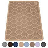 "MIGHTY MONKEY Premium Cat Litter Trapping Mats, Phthalate Free, Best Scatter Control, Jumbo XL Sizes (35"" x 23""), Mat Traps Litter, Easy to Clean, Soft on Kitty Paws (Taupe)"