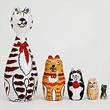 "Nesting Cats - Hand Painted Wooden Nesting Dolls Matryoshka - Set of 5 Dolls From 7"" Tall"