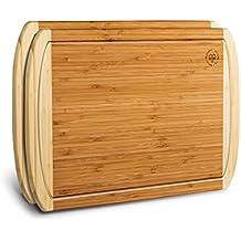 Large Bamboo Cutting Board Set of 2, Kitchen Chopping Board, Wooden Cutting Board with Juice Grooves. By: Bambusi