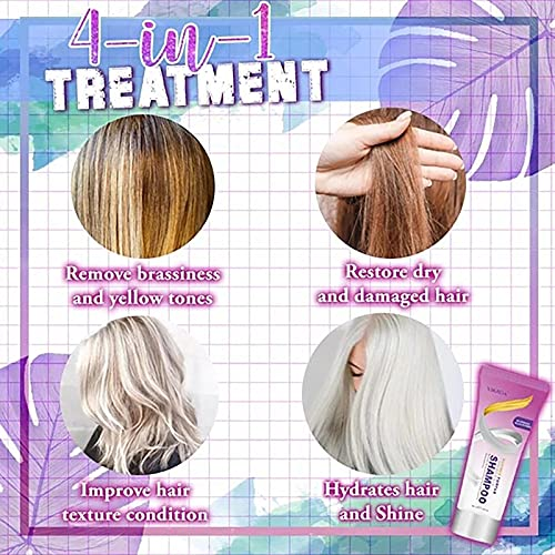 100ml Purple Shampoo for Blonde Hair Blonde Shampoo Eliminates Brassy Yellow Tones Lightens Blonde, Platinum, Ash, Silver and Grays, Revitalize Bleached & Highlighted Hair