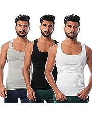 Round-Neck Solid Sleeveless Undershirt for Men, Set of 3 - - 2725612499643