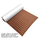 Non-Slip Boat Flooring Decking Pad (35in x 94in x 0.24in), EVA Foam Faux Teak Marine Fit for Yacht