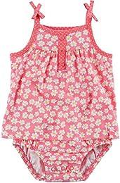Girls Daisy Floral Tie Shoulder Sunsuit  Pink   White  12M