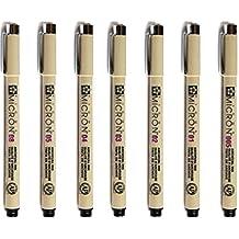 CHENGYIDA Set of 7PCS SAKURA PIGMA MICRON FINELINER ARCHIVAL DRAWING PENS - BLACK INK, 7 Size:01-Line: 0.25mm/02-Line: 0.30mm/03-Line: 0.35mm/04-Line: 0.40mm/05-Line