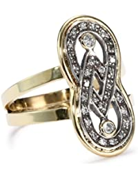 """Kaleidoscope"" 18K Gold and Pave Diamond Infinity Ring, Size 7"