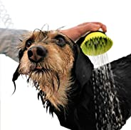 Wondurdog Pet Wash Attachment for Handheld Showers with Splash Guard Handle, Rubber Grooming Teeth. Designed f