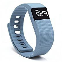 Fitness Tracker,NewYouDirect Fitness Tracker Smart Watch Smart Band Wireless Bluetooth Sleep Monitor Wristband Running Pedometer Exercise for Android 4.3 IOS 7.0 (BlueGrey)