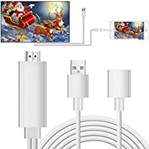 Lightning to HDMI Adapter Cable, Elegant Choise Lightning Digital AV Adapter 1080P on TV Projector for iPhone 8 8 Plus 7 7 Plus, iPad Air/ Mini / Pro, iPod Touch 5th /6th (Silver)