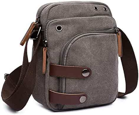 7a2940dd79 Collsants Small Vintage Canvas Travel Purse Mini Shoulder Bags Messenger  Crossbody Handbag (Grey)