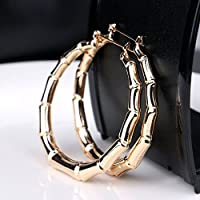 ERAWAN Vintage Women Punk Gold Bamboo Big Hoop Large Round Circle Earrings Jewelry Gift EW sakcharn