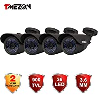 TMEZON 4 Pack 1/3 900TVL 960H HD Security Surveillance CCTV Camera Kit 42 Leds Had IR Cut Day Night 3.6mm Wide Angle Lens Outdoor Weatherproof