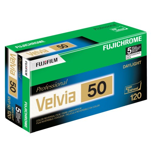 Fujifilm 16329185 Fujichrome Velvia 120mm 50 Color Slide Film ISO 50 - 5 Roll Pro Pack (Green/White/Purple)